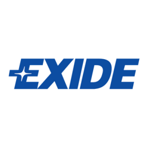 Exide brand logo with blue text.