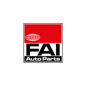 FAI auto parts brand logo with black text on white, red, and black background.