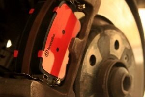 Brembo brake pad on wheel.