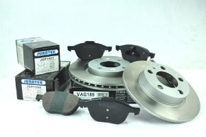 Juratek brake discs and brake pads.