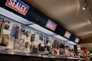 Sealey tools display stand at HBA Powerstore.