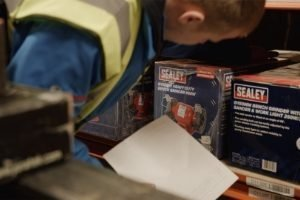 Man looking at Sealey tools in HBA Powerstore.