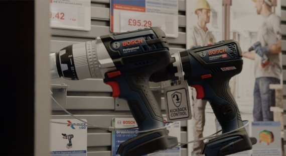Bosch drills on display.