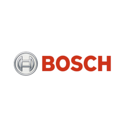 Bosch brand logo with red text and silver motif.