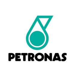 Petronas brand logo with black text and white and green motif.