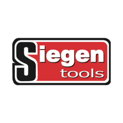 Siegen tools brand logo with white text on red background.