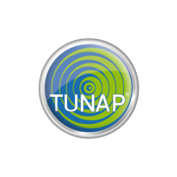 Tunap brand logo with white text ongreen and blue background.